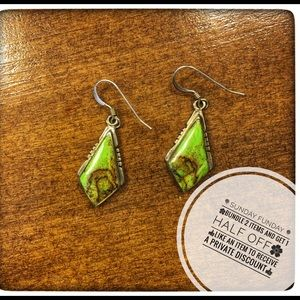 Japser stone earrings green & brown, real silver